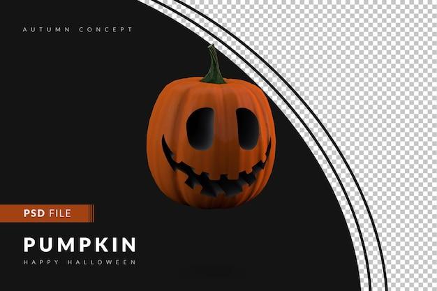 Zucca di halloween 3d su sfondo nero