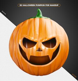 Zucca di halloween 3d isolata per il trucco