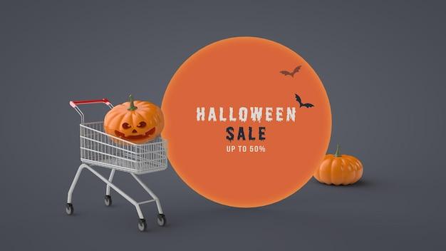 Modello psd di banner di vendita di halloween 3d cornice rotonda cambiamenti di colore di sfondo