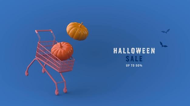 Modello psd di banner di vendita di halloween 3d