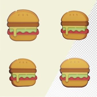 File modello psd trasparente con angolo diverso di hamburger 3d