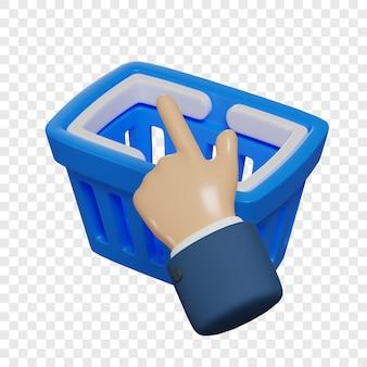 La mano 3d fa clic su un carrello della spesa blu concetto di shopping online isolato illustrazione 3d rendering