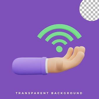 3d gesto della mano illustrazione icona wifi risorse isolate di alta qualità