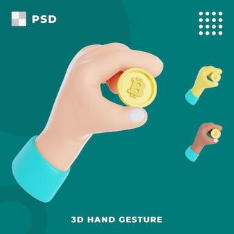 Gesto della mano 3d con tenere bitcoin