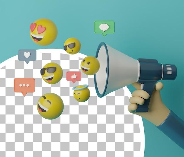 Megafono della tenuta della mano 3d con l'emoji di lancio