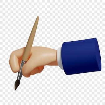 La mano 3d tiene un pennello il processo creativo di creazione di un sito web design ui app mobili ecc