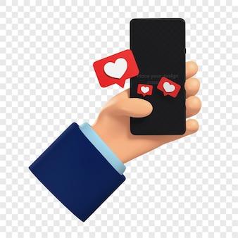 La mano 3d tiene un telefono e invia i cuori delle emoticon nei messaggi le icone del cuore nelle finestre di dialogo isolate