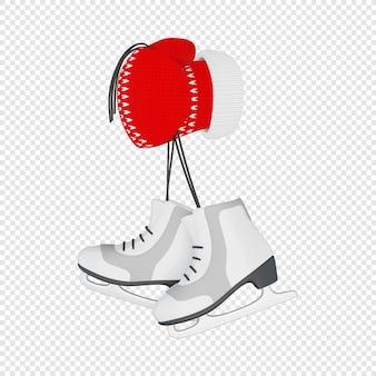 La mano 3d in un guanto rosso lavorato a maglia tiene un paio di pattini da figura isolati illustrazione 3d