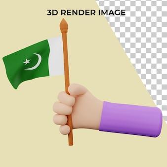 Rendering 3d a mano con concetto di festa nazionale del pakistan premium psd
