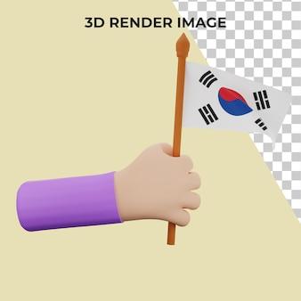 Rendering 3d a mano con concetto di festa nazionale della corea del sud premium psd