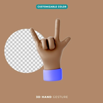 Icona del gesto della mano rock 3d