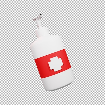 Illustrazione 3d della bottiglia del disinfettante per le mani
