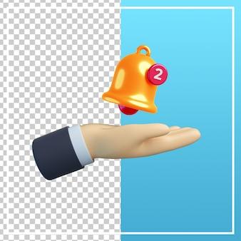 Mano 3d con l'icona di notifica della campana