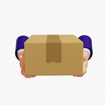 Le mani 3d che tengono il concetto di consegna del corriere del pacco hanno isolato l'illustrazione 3d