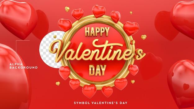 Logo di san valentino felice 3d con cuori in rendering 3d