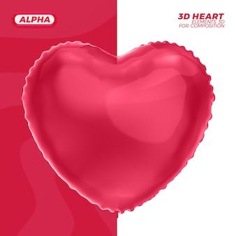 Elemento di palloncino cuore 3d nella rappresentazione 3d