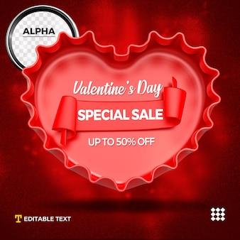 Mockup di cuore 3d per san valentino isolato