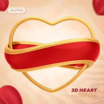 Rendering 3d del cuore per la composizione premium psd