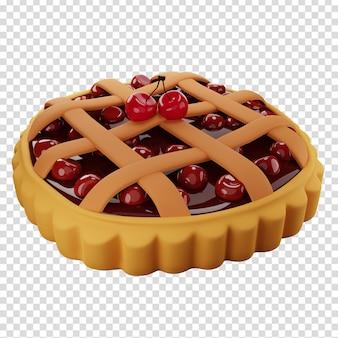 Torta di ciliegie fatta in casa 3d con una crosta superiore a traliccio illustrazione 3d isolata