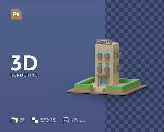 Rendering 3d dell'illustrazione dell'edificio dell'hotel