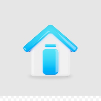3d icona casa lucido metallico isolato