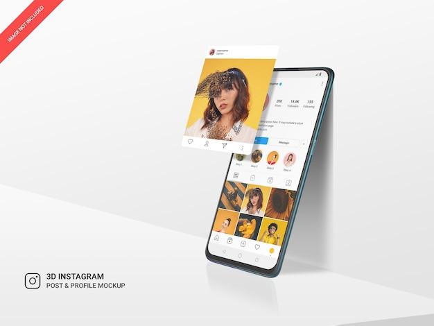 Post di instagram al passaggio del mouse 3d e profilo sul mockup mobile verticale