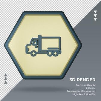 Vista frontale del rendering del segno della fabbrica del camion di consegna dell'icona 3d