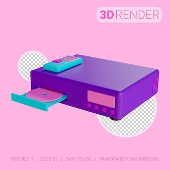 Lettore dvd icona 3d con sfondo trasparente