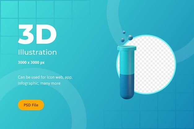 3d icona illustrazione, assistenza sanitaria, bottiglia di chimica, per il web, app, infografica
