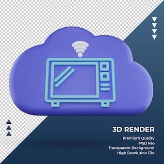 3d icona internet cloud forno a microonde segno di rendering vista frontale
