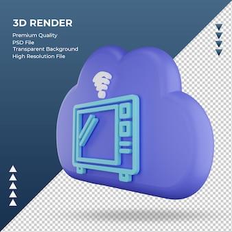 3d icona internet cloud forno a microonde segno rendering vista a destra