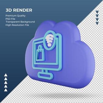 3d icona internet cloud shopping online segno rendering vista giusta