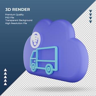 3d icona internet cloud segno di camion rendering vista a destra