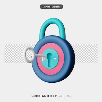 Icona 3d di lucchetto e chiave