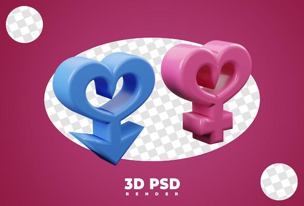 3d icona maschio e femmina genere isolare
