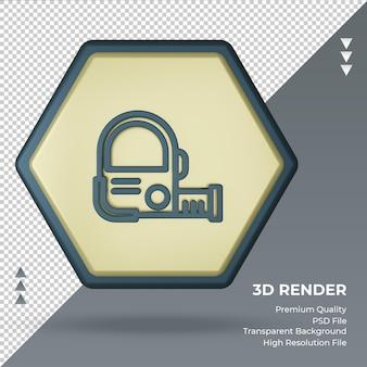 Icona 3d, nastro di misurazione, fabbrica, segno, rendering, vista frontale
