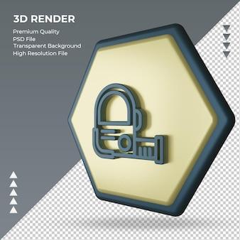 Icona 3d nastro di misurazione del segno della fabbrica che rende la vista giusta