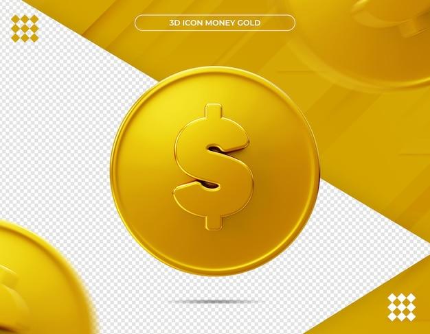 Rendering 3d dell'oro dei soldi dell'icona
