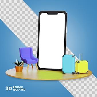 Icona 3d del telefono con il concetto di biglietteria online delle valigie isolato