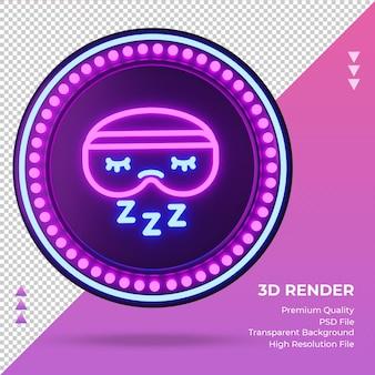 3d icona sleeping mask hotel segno al neon rendering vista frontale