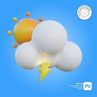 Icona 3d meteo luminoso e un po' di tuono