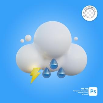 3d icona meteo nuvoloso pioviggine e tuoni