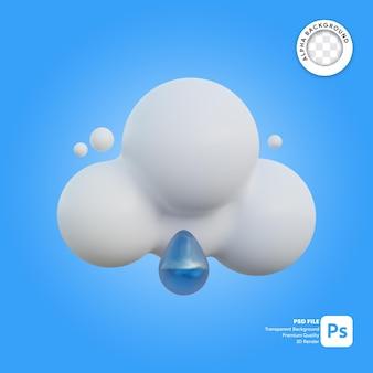 3d icona meteo nuvoloso e pioviggina