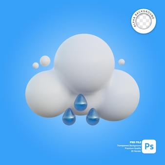 Icona 3d meteo nuvoloso e pioggerella pesante