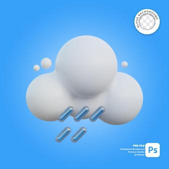 Icona 3d meteo nuvoloso e piovoso