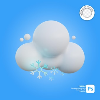 Icona 3d meteo nuvoloso e nevoso
