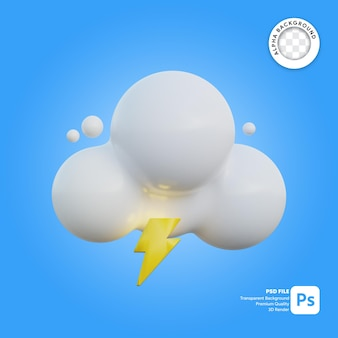 Icona 3d meteo nuvoloso e tuono