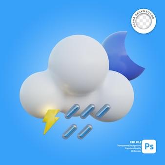 3d icona meteo forte pioggia notte