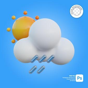 3d icona meteo giornata di pioggia