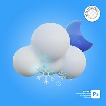 Icona 3d tempo nevoso notte limpida